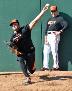 Shorebirds' starter Brian Gonzalez throwing a bullpen session at Orioles' spring training.
